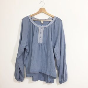 We the Free Dusky Blue Long Sleeve Top with Button